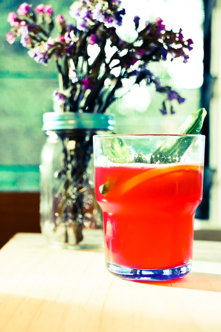 Pomegranate and Basil Fizz